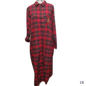 Lauren Ralph Lauren Red Flannel Long Nightgown 1X